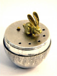 SOLID SILVER MUSIC BOX LONDON 1978 EGG SHAPED WITH RABBIT