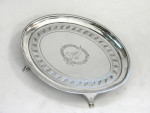 ANTIQUE GEORGIAN GEO. III SOLID SILVER TEAPOT STAND / TRAY / SALVER LONDON 1794