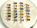 SILVER & ENAMEL COMPACT BIRM. 1949 NAVAL SIGNAL FLAGS SAILING BOATING