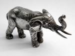 SOLID SILVER MINIATURE ELEPHANT FIGURE / MODEL LONDON 1988