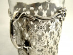 PAIR ANTIQUE SILVER & GLASS VASES LONDON 1901 GREY HOUNDS / DOGS