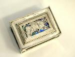 OMAR RAMSDEN ARTS & CRAFTS SILVER & ENAMEL MATCH BOX HOLDER 1927 SAILING SHIP