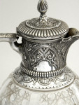 ANTIQUE VICTORIAN SOLID SILVER & GLASS CLARET JUG / WINE DECANTER BIRMINGHAM 1889