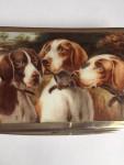 CONTINENTAL SILVER & ENAMEL BOX Circa 1920 (3 Pointer Dogs)