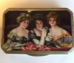 AN UNUSUAL SILVER & ENAMEL BOX OF 3 LADIES AUSTRIAN Circa 1920