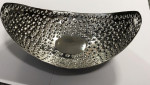 Hammered Metal Oval Dish / Basket 9.5 x 6.5 inches