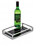 30cm Stainless Steel & Black Glass Art Deco Style Drinks Tray