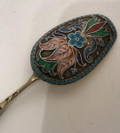RUSSIAN SILVER CLOISONNÉ ENAMEL CADDY SPOON circa 1908