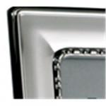Solid Silver Frame Egg & Bead Design 5 x 3.5 (Velvet Back)