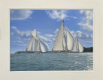 Spinnakers to Port, Velsheda leads Astra and Westward, Cowes Week 1933
