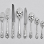 Antique one date & maker, hand-forged Lily silver cutlery for 12