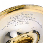 George III silver gilt trophy cup & cover