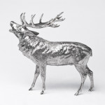 Large silver bellowing stag