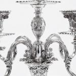 Pair antique 5-light silver candelabra