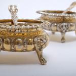 Impressive pair of silver-gilt salts