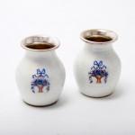 Pair silver & enamel menu holders & vases