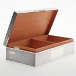 Engine-turned silver cigar box