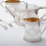 Cased silver bachelor tea set