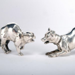 Rare pair silver cat & dog peppers