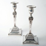 Pair neoclassical silver candelabra