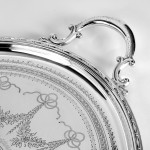 Antique silver plated oval tray