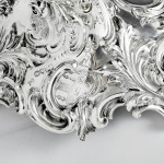 Pair grand 3-light cast silver candelabra