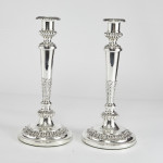Pair 3-light George III silver candelabra