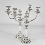 Pair 3-light silver-plated candelabra