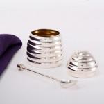 Silver honey pot & spoon