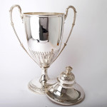 Massive silver trophy cup & cover