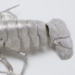 Life size articulated silver lobster