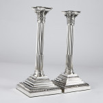 "Pair 12"" silver Corinthian candlesticks"