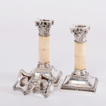 Pair antique silver & ivory candlesticks