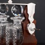 Oak & silver-plated tantalus