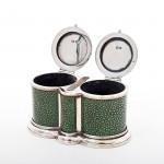 Art Deco silver & shagreen match holder