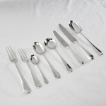 Heavy hand-forged silver 3-prong Rattail cutlery