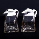 Rare pair silver & crystal wine jugs