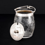 Engraved glass & silver-plated preserve jar