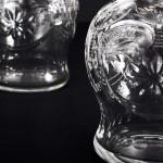 Pair silver & glass perfume bottles