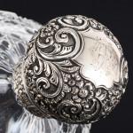 Pair Victorian cut-glass & silver scent bottles