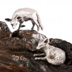 Pair silver bat-eared foxes
