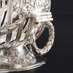 Pierced silver oval bowl