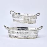 Pair Victorian pierced oval silver baskets