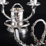 Pair of 2-light French silver candelabra