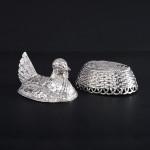 Novelty silver chicken-in-a-basket
