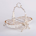Victorian folding silver-plated biscuit box