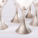 Six mid-century silver goblets