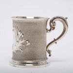 Pair antique silver half-pint mugs