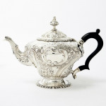 3-piece hand-chased silver tea set