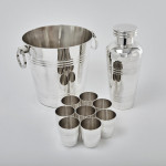 French Art Deco silver plated cocktail set